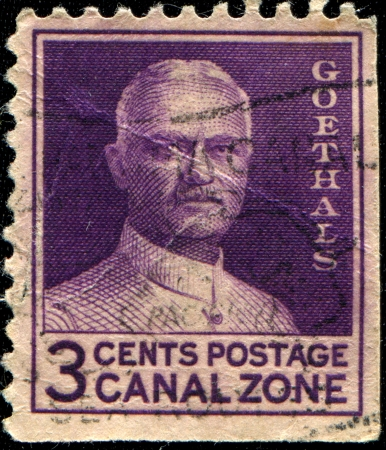 CANAL ZONE - CIRCA 1934  A stamp printed in USA shows general George Washington Goethals