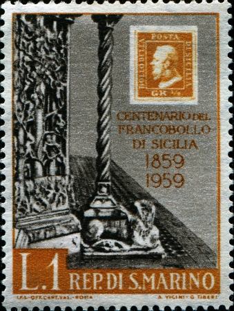 SAN MARINO - CIRCA 1959  A stamp printed by San Marino shows Messina Cathedral Portal, circa 1959  Stock Photo - 14467058