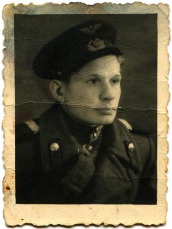 USSR - CIRCA 1948  Studio portrait of Sergeant of the Air Force coat and cap, circa 1948 Editorial