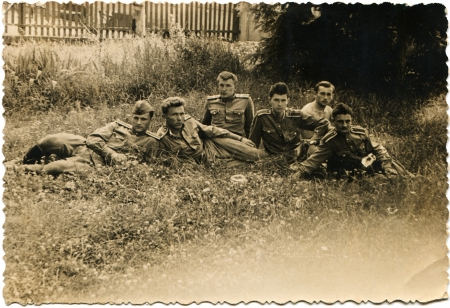 lugansk: USSR - CIRCA 1960s  Reproduction of picture taken in the USSR shows a group of military school cadets of Voroshilovgrad navigators aviation Voroshilovgrad and now Lugansk, Ukraine, sirca 1960s