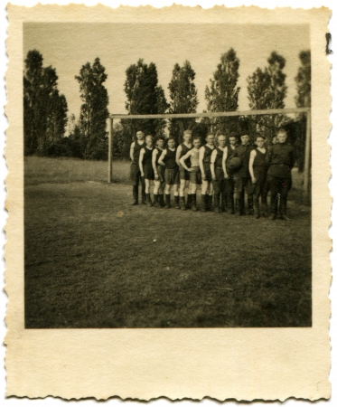 GERMANY - CIRCA 1948  Football team consisting of the Soviet soldiers headed by coach before the game, Berne, Germany, circa May 29, 1948