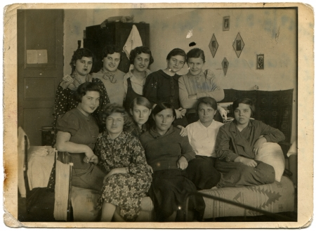 dorm: USSR - CIRCA 1939  A group of girls Medical University students in a dorm room, Simferopol, Crimea, circa February 18, 1939 Editorial