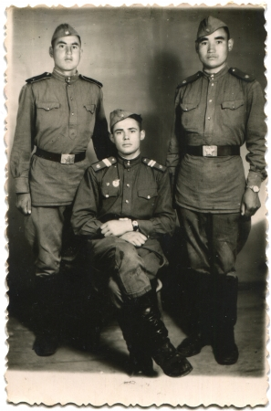 USSR - circa 1950 Cabinet picture Guard sergeant and two soldiers of the Soviet Army, Dilijan also Romanized as Dilizhan, Dilichan, Dilidjan, and Tilichan, Armenia, 1950