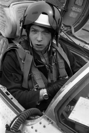 USSR - CIRCA 1976   pilot, his name is Lieutenant Valerii Poltoranin, in the cockpit MiG-21, air base Kubinka, Moscow Region, USSR, July 1976