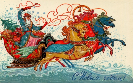 horse sleigh: USSR  - CIRCA 1986: Postcard shows draw by artist Andrianov - Santa Claus on a sleigh pulled by three horses, circa 1986. Russia text: Happy New Year! Editorial