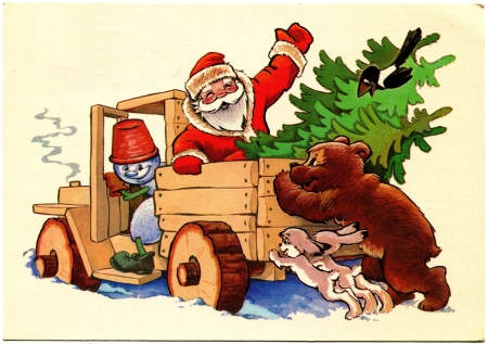 vintage truck: USSR - CIRCA 1981  Postcard printed in the USSR shows draw by Chetverikov - Bear and Bunny pushed the truck got stuck in the snow, which is drived by a snowman, sitting in the back of Santa Claus with Christmas fir trees, circa 1981 Editorial