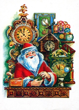 USSR - CIRCA 1986  Postcard printed in the USSR shows draw by Pohitonova - Santa Claus is sitting under a wall hung with a variety of clocks, circa 1986