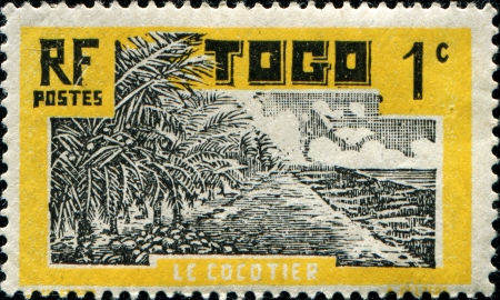 mandate:  TOGO - CIRCA 1924 A stamp printed in Togo  Anglo French Occupation of Togo, French Mandate shows Coconut Palms , circa 1924