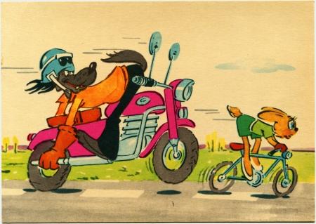 nu: USSR  - CIRCA 1975  Postcard printed in Ukraine  ex-USSR  shows draw draw by artist Sergey Rusakov scene form Nu, pogodi  - Soviet animated series produced by Soyuzmultfilm, circa 1975 Editorial