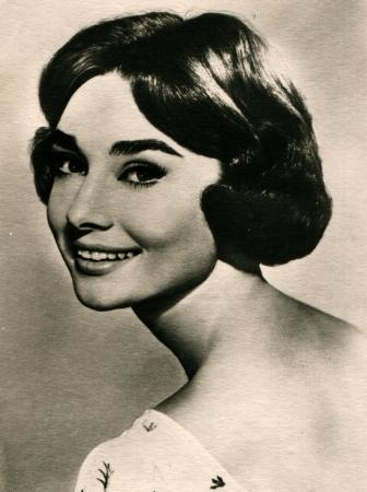 USSR  - CIRCA 1960  Postcard printed in the USSR shows actress Audrey Hepburn, circa 1960