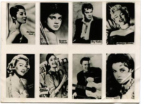 curtis: POLAND  - CIRCA 1959  Postcard printed in the Poland shows stars Koch, Curtis, Monroe, Podesta, Carol, Kathrin, Prasley, Bardot, circa 1959