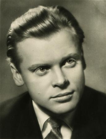 vitaly: USSR  - CIRCA 1962  Postcard printed in the USSR shows actor Vitaly Konyaev, circa 1962