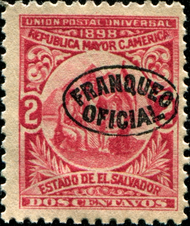 EL SALVADOR - CIRCA 1898  A stamp printed in El Salvador  Greater Republic of Central America  shows mythological figures Union of Central America, circa 1898