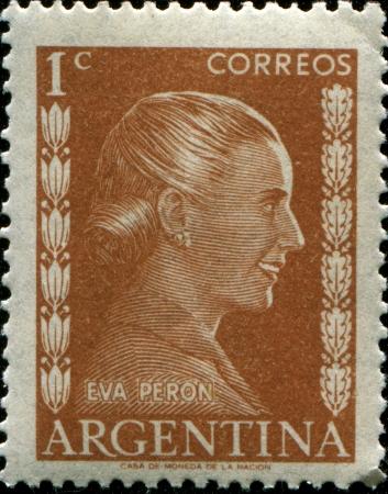 evita: ARGENTINA - CIRCA 1952  A stamp printed in Argentina shows portrait Maria Eva Duarte de Peron  1919-1952 , circa 1952  Editorial