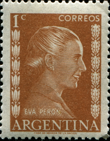 ARGENTINA - CIRCA 1952  A stamp printed in Argentina shows portrait Maria Eva Duarte de Peron  1919-1952 , circa 1952  Stock Photo - 14520523