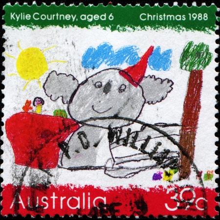 AUSTRALIA - CIRCA 1988  A stamp printed in Australia, shows Koala wearing a Santa hat, by Kylie Courtney, circa 1988
