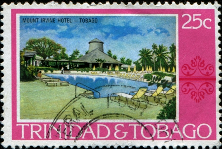 TRINIDAD AND TOBAGO - CIRCA 1970  A stamp printed in Trinidad and Tobago shows Mount Irvine Hotel, Tobago, circa 1970  Stock Photo - 14520725