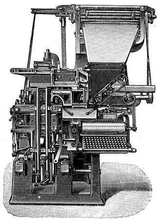 Ottmar Mergentaler printing typesetter - an illustration of the encyclopedia publishers Education, St  Petersburg, Russian Empire, 1896  Stock Photo - 14520724