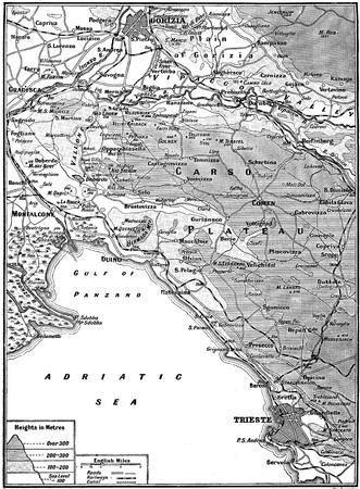 Map of Carso Battlefield, september - november, 1916, from  Great War  magazine, vol  114, UK