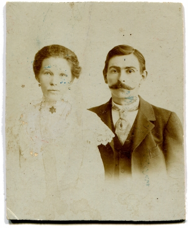 xx century: RUSSIA - CIRCA end of the XIX - the beginning of XX century  An antique photo shows couple, St Petersburg, Russian Empire, the end of XIX - early XX century