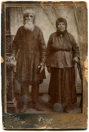 RUSSIA - CIRCA end of the XIX - the beginning of XX century  An antique photo shows peasant family, Kerch, the Russian Empire, Ukraine