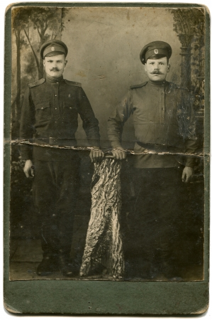 RUSSIA - CIRCA period of the First World War  Two soldiers in field uniform, the Russian Empire