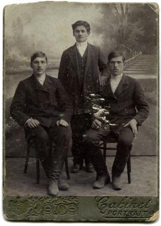 lugansk: RUSSIA - CIRCA 1898  An antique photo shows Three men, Lugansk, Russian Empire, Ukraine, 1898