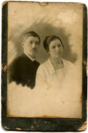 xx century: RUSSIA - CIRCA  the end of XIX - early XX century  An antique photo shows couple, Pyatigorsk, Russian Empire, the North Caucasus Editorial
