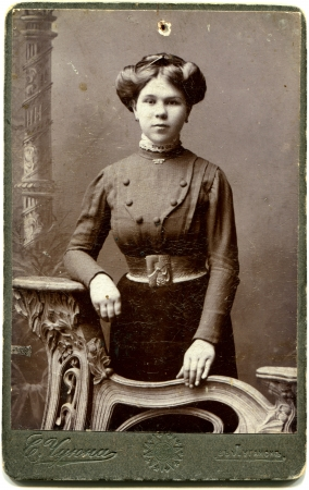 RUSSIA - CIRCA the end of 19 - early 20 century An antique photo shows woman, Lugansk, Russian Empire, now UkraineRussian text Umanskiy photographer , Lugansk