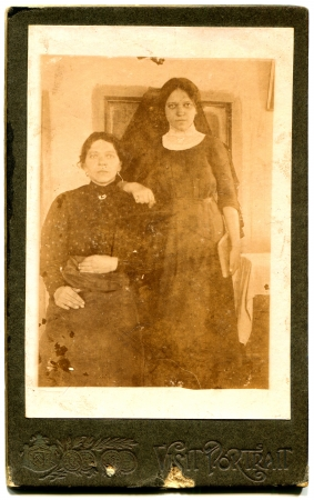 RUSSIA - CIRCA  1918  An antique photo shows Two women, the village Nepokrytoe, Vitebsk province, Russian Empire, now Belarus, 1918