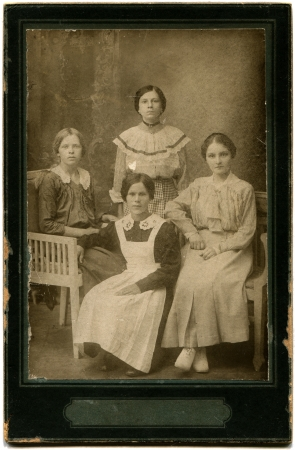 RUSSIA - CIRCA  the end of 19 - early 20 century  An antique photo shows  four young women, the Russian Empire Stock Photo - 14541907