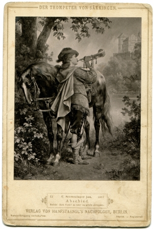 thee: GERMANY- CIRCA 1883  Photo Trumpeter of Sackingen  Shmenluger K , 1887   Farewell   German Text  God bless thee  It was used as well  Words from the opera Sheffelya  Publishing house Von Hansftaengl