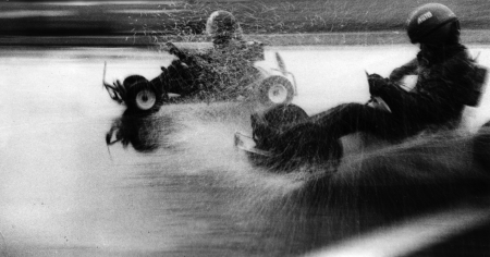USSR - CIRCA 1979  A photo taking in the USSR shows racing karts in the rain, Kursk, USSR, august 1979