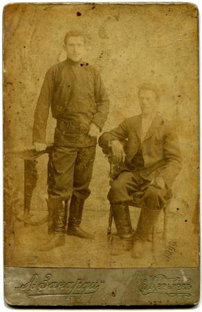 xx century: RUSSIA - CIRCA end of the XIX - the beginning of XX century  An antique photo shows Two men, Kharkov, Russian Empire, now UkraineRussian text  Zanardi  photograph , Kharkov Editorial