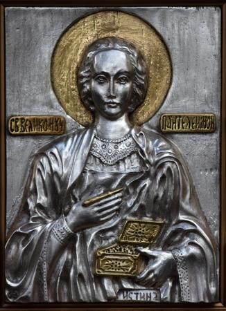 panteleimon: metal icon of St. Panteleimon
