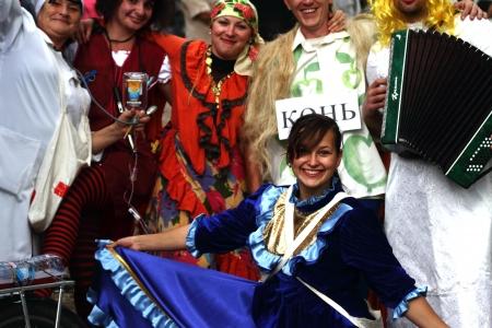cossack: STANITSA LUGANSKAYA, UKRAINE - SEPTEMBER, 8, 2012  mummers - traditional participants folk festivities, International Cossack festival, Stanitsa Luganskaya, Ukraine, September 8, 2012 Editorial