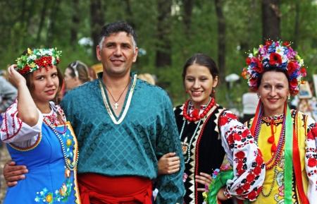 cossack: STANITSA LUGANSKAYA, UKRAINE - SEPTEMBER, 8, 2012  folk group from Zaporozhye singers, International Cossack festival, Stanitsa Luganskaya, Ukraine, September 8, 2012