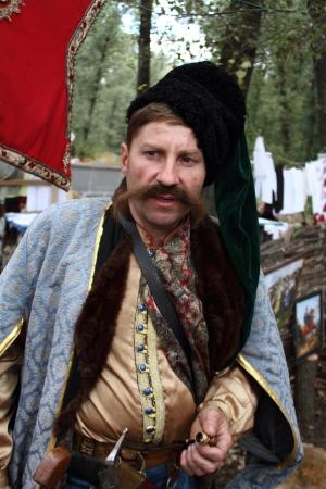 STANITSA LUGANSKAYA, UKRAINE - SEPTEMBER, 8, 2012  Zaporizhia Cossack in clothes of the 17th century, International Cossack festival, Stanitsa Luganskaya, Ukraine, September 8, 2012 Stock Photo - 15293853