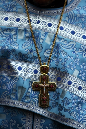 vicar: detail of festive robes of orthodox priest
