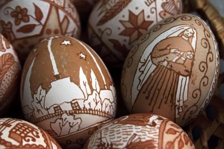 lugansk:  LUGANSK - OCT 14  easter eggs, celebration of the Protection of the Mother of God, Lugansk, Ukraine, October 14, 2012