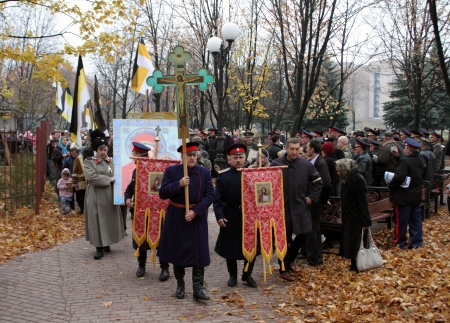 polish lithuanian: LUGANSK - NOV 4  religious procession dedicated to the 400 annversary of the liberation of Russia from the Polish-Lithuanian invardes and end of Unrest, Lugansk, Ukraine, November 4, 2012