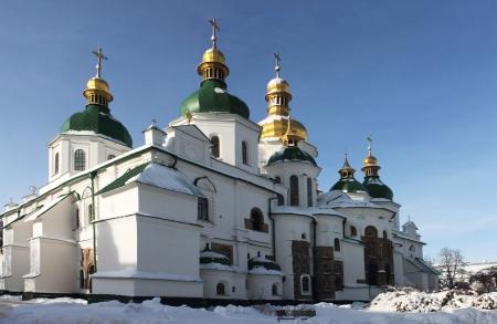 11th century: Ancient 11th century Saint Sophia cathedral in Kiev in snow in winter, Ukraine