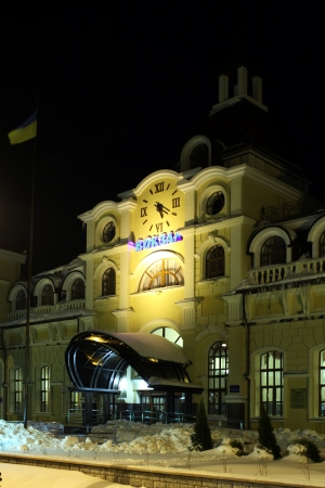 LUTSK - DEC 25  Rail way station at night, Lutsk, Ukraine, December 25, 2012