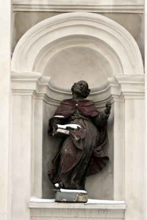 apostle paul: sculpture the Apostle Peters on the facade of Cathedral of Peter and Paul, Lutsk, Ukraine