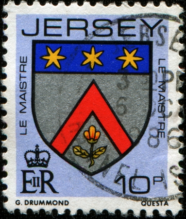 britan:  JERSEY - CIRCA 1985  A stamp printed in Jersey shows coat of arms of LeMaistre family - 3 metal clasps or a crescent for difference, circa 1985