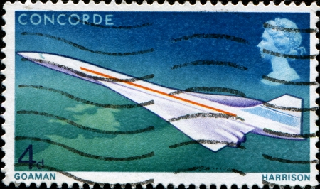 UNITED KINGDOM - CIRCA 1969  A stamp printed in  United Kingdom shows Concorde, circa 1969