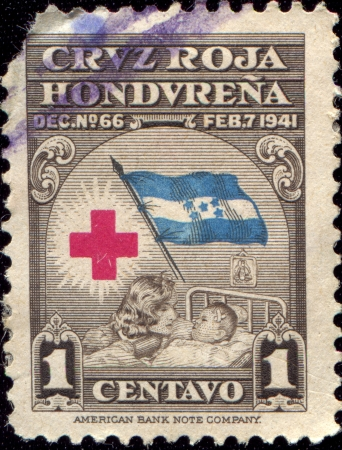 HONDURAS - CIRCA 1941  An Obligatory Tax stamp printed in Honduras shows Red Cross, circa 1941