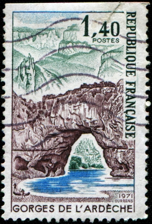 CIRCA 1971: A stamp printed in France shows Ardeche gorges, circa 1971  Stock Photo - 17256115