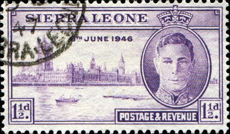 allied: SIERRA LEONE - CIRCA 1946  Stamp honoring The London Victory Celebrations of 1946 were British Commonwealth, Empire and Allied victory celebrations held after defeat of Nazi Germany and Japan in WWII circa 1946
