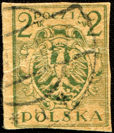 POLAND - CIRCA 1919  A stamp printed in Poland shows coat of arms of Poland, circa 1919